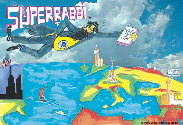 "SUPERRABBI (SUPER RABBI), A New Jewish/Israeli Superhero - ""Faster Than A Speeding Bagel!! """