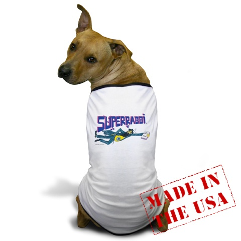 "SUPERRABBI (SUPER RABBI), A Very Cute Doggie T-shirt - ""Faster Than A Speeding Bagel!! """